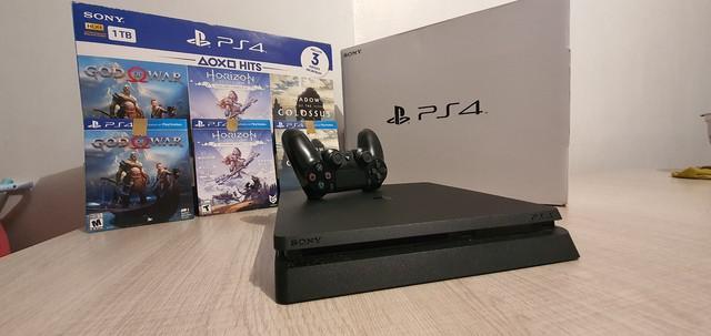 Ps4 slim 1 tb - 1 controle - 3 jogos - console impecável -