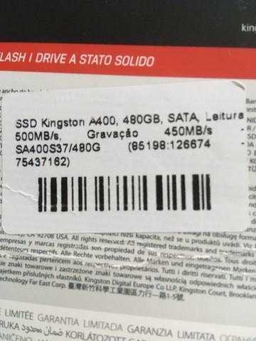 Ssd kingston a400,480gb sata leitura 500 mn/s