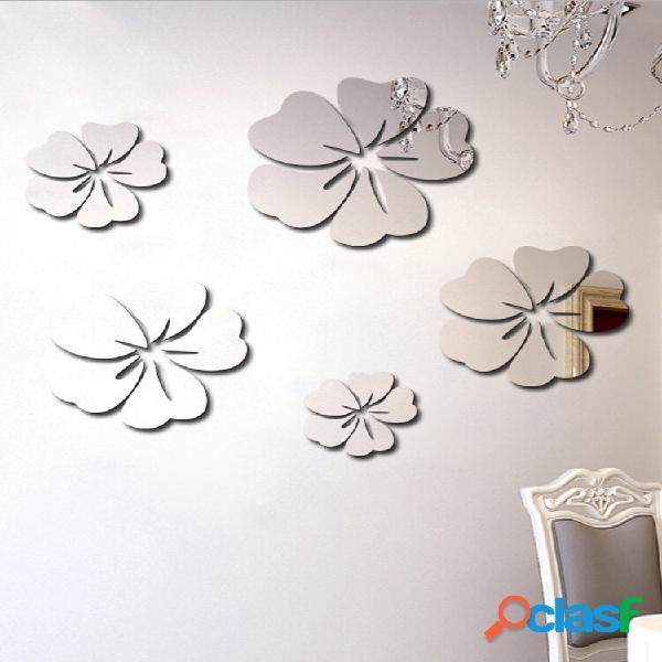 5 pcs flor padrão espelho adesivo home decor 3d decal art diy mural decalque para sala de estar decoração pvc auto adesi