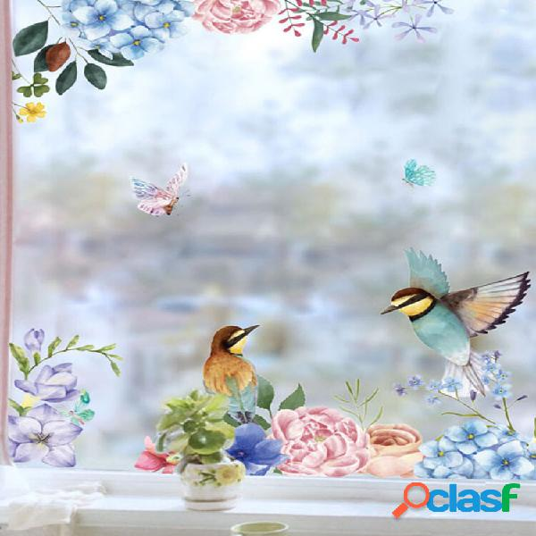 Miico 2 pcs flor e pássaro impressão adesivos de parede adesivos de vidro decoração de casa adesivos diy adesivo