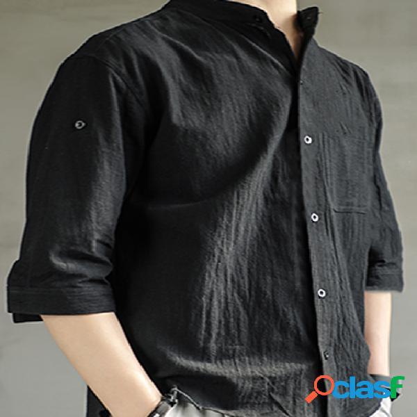 Incerun homens verão casual bolso peito manga ajustável respirável camisa