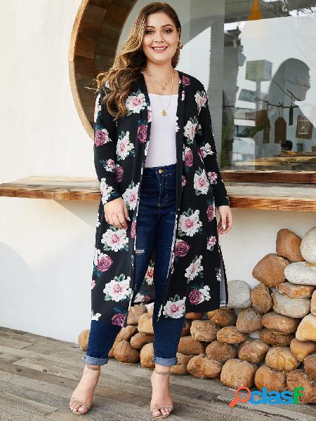 Yoins black split design cardigan com estampa floral aleatória