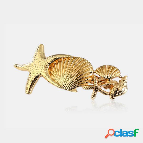 Acessórios bonitos para grampo de cabelo starfish conch pinos decorativos de prata e ouro para cabelo jóias da moda para