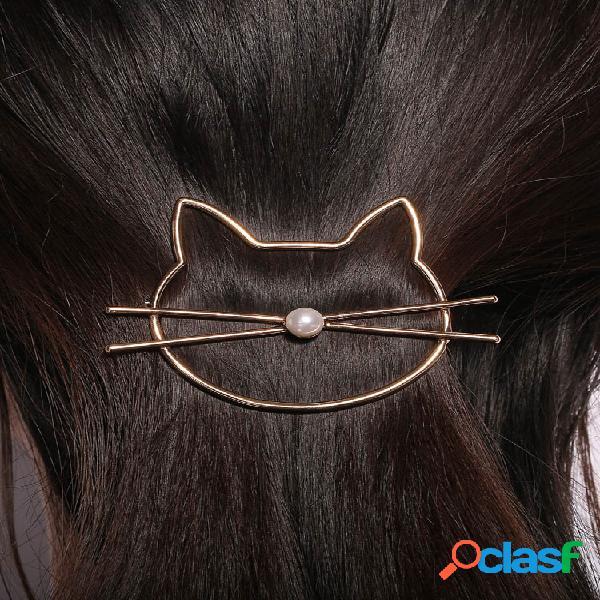 Moda adorável animal oco gato pérola grampo de cabelo ouro cor prata grampo de cabelo feminino acessórios de cabelo