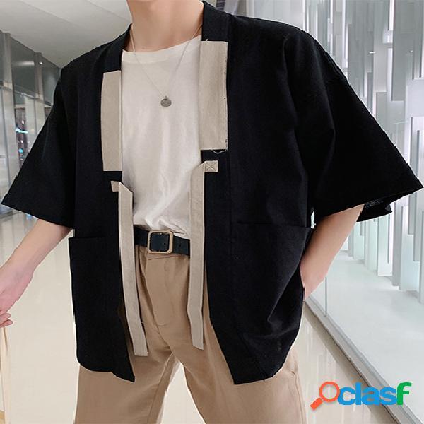 Mens 100% algodão liso grandes bolsos com cordão meia manga camisa cardigan