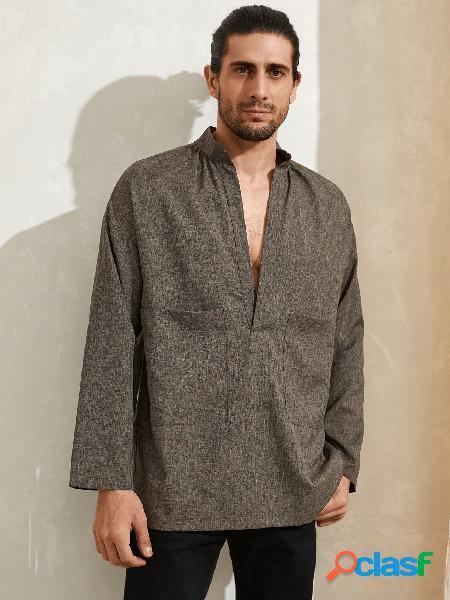 Camiseta masculina casual com decote em v com gola lisa de manga comprida