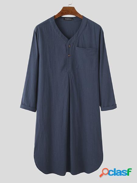Incerun masculino linho de algodão respirável bolso no peito com gola em v camisa longa henley