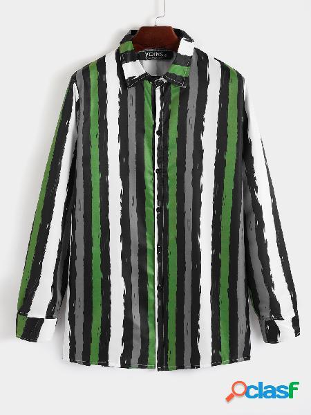 Homem casual algodão soft listrado manga longa multicolor camisa