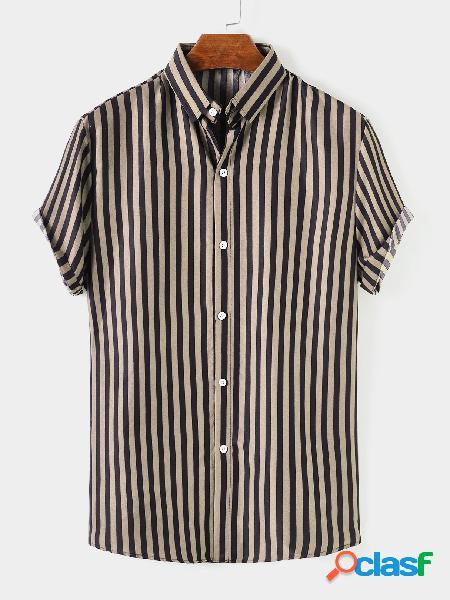 Masculino verão casual algodão listrado frontal botão respirável camisa