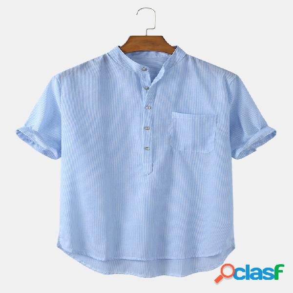 Algodão listrado sólido lavável masculino respirável casual henley camisa