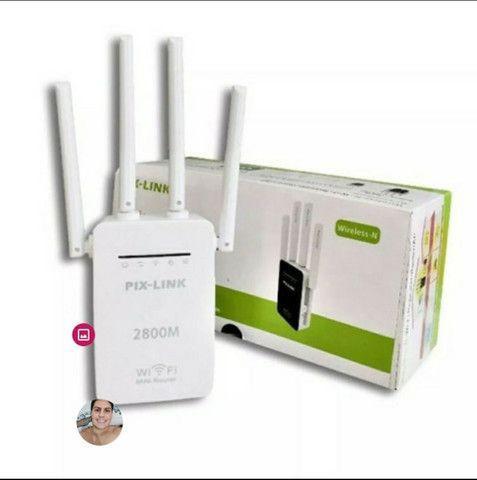 Repetidor wi-fi mini roteador wireless 4 antenas 2800m