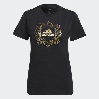 Camiseta adidas logo metalizada feminina