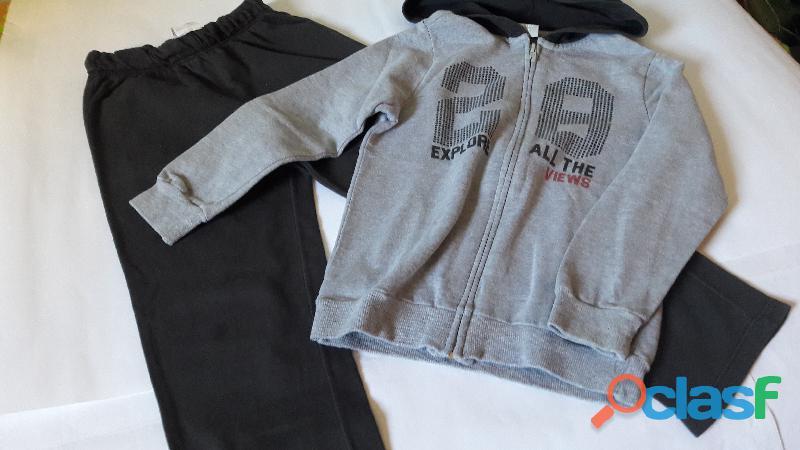 Agasalho Moletom ( Calça e Blusa) Infantil Hering Kids c/ capuz   cinza   tam 6 Semi Novo 3