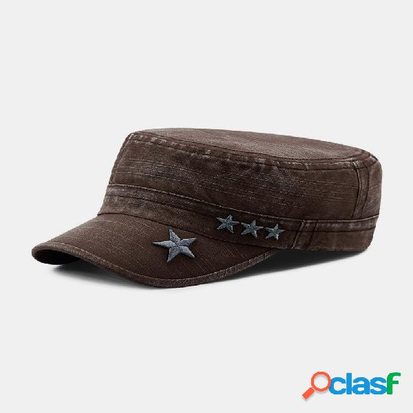 Homens made-old denim stars bordado padrão sunvisor respirável militar chapéu flat chapéu