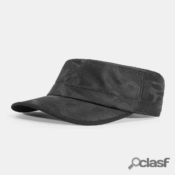 Algodão masculino linhas obscuras cor sólida respirável militar chapéu