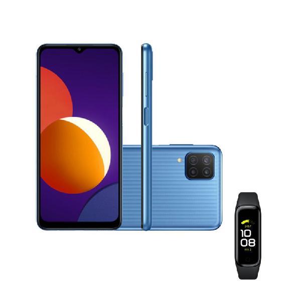 """Smartphone samsung galaxy m12 azul e galaxy fit2 1,1"""" preto"""