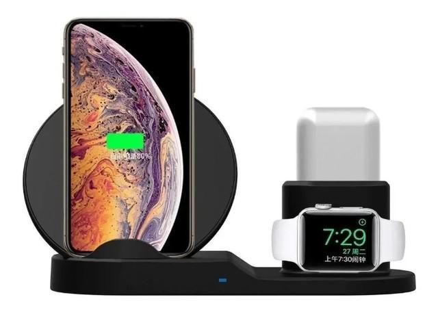 Dock base carregador wifi qi 3/1 iphone x watch 1 2 airpods