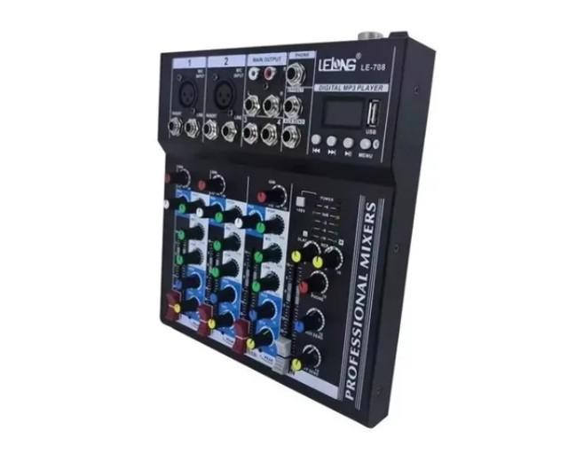 Mesa de som 4 canais bluetooth mixer player usb digital 708