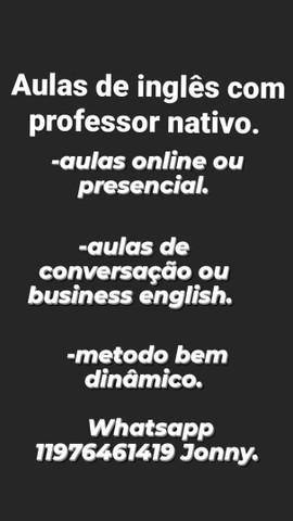 Aulas de inglês com professor nativo 50,00 a hora.