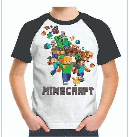 Camisa modelo raglan minecraft infantil