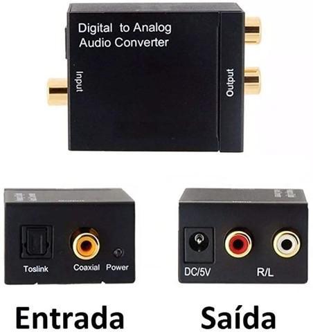 Conversor áudio digital analógico mais cabos optico