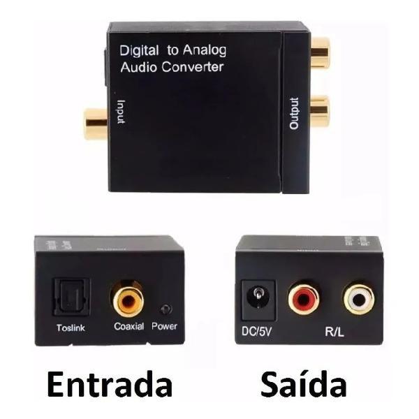 Adaptador conversor de áudio digital em analógico rca tv
