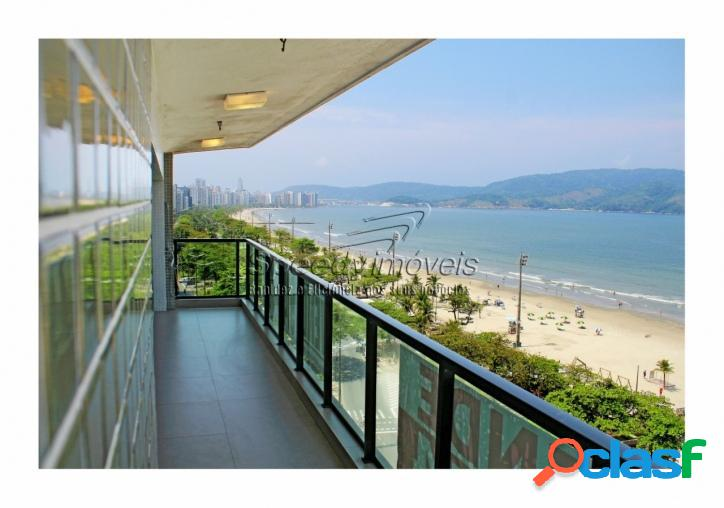 Apartamento na orla da praia de santos com vista mar
