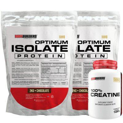 Kit 2x optimum isolate whey protein 2kg chocolate creatina