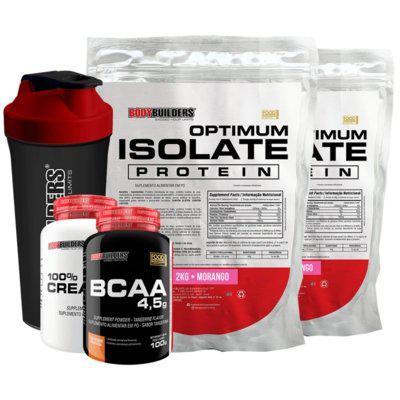 Kit 2x optimum isolate whey protein 2kg morango creatina