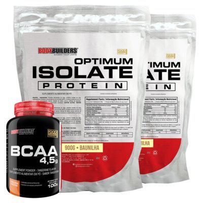Kit 2x optimum isolate whey protein 900g baunilha bcaa 100g