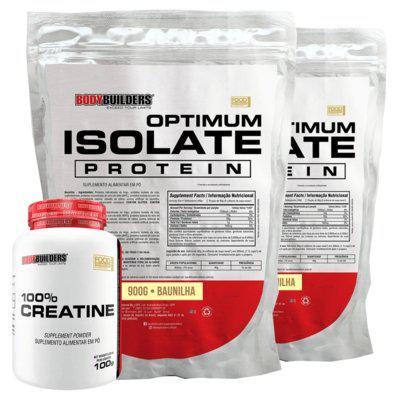 Kit 2x optimum isolate whey protein 900g baunilha creatina