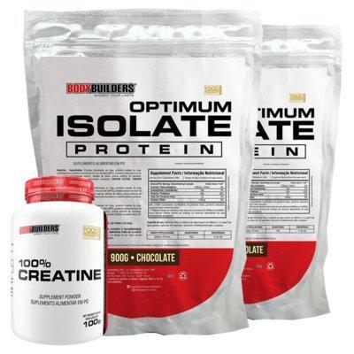 Kit 2x optimum isolate whey protein 900g chocolate creatina