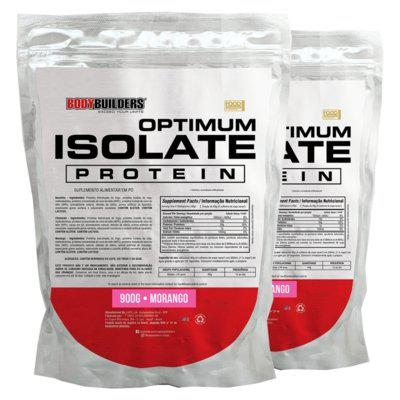 Kit 2x optimum isolate whey protein 900g morango -