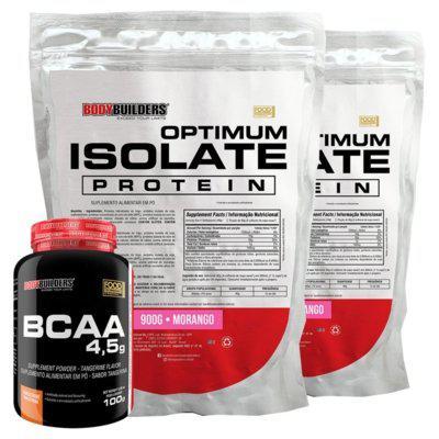 Kit 2x optimum isolate whey protein 900g morango bcaa 100g -