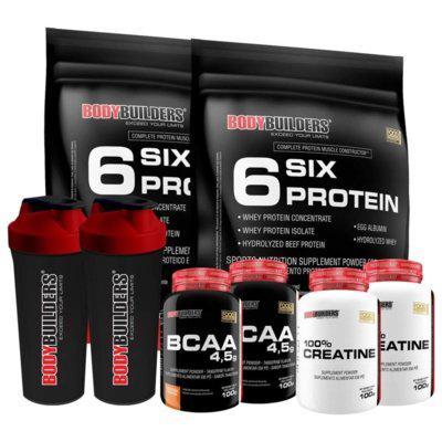 Kit 2x six protein 900g baunilha 2x bcaa 100g 2x creatina