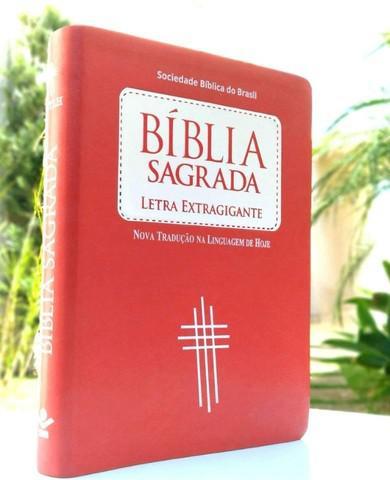 Bíblia sagrada letra extragigante capa pêssego luxo