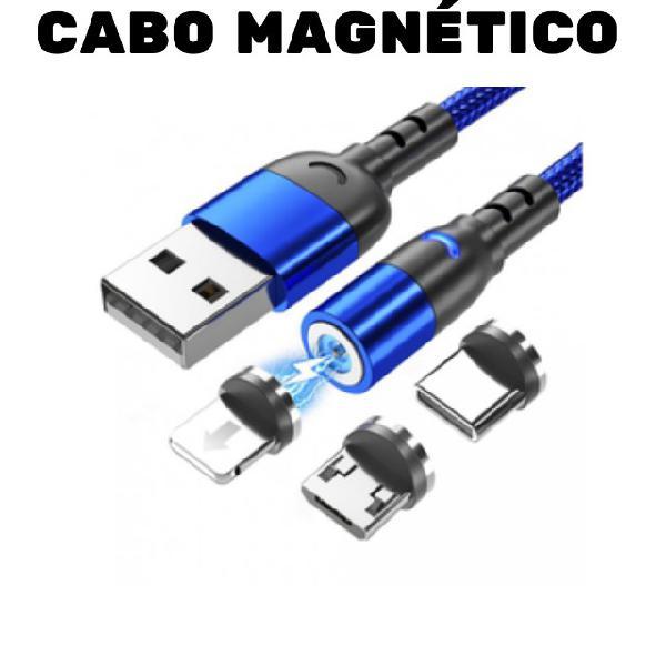 Cabo carregador magnético usb 3 em 1 tipo c/ led todos