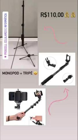 Tripé + monopod 1,2 metros