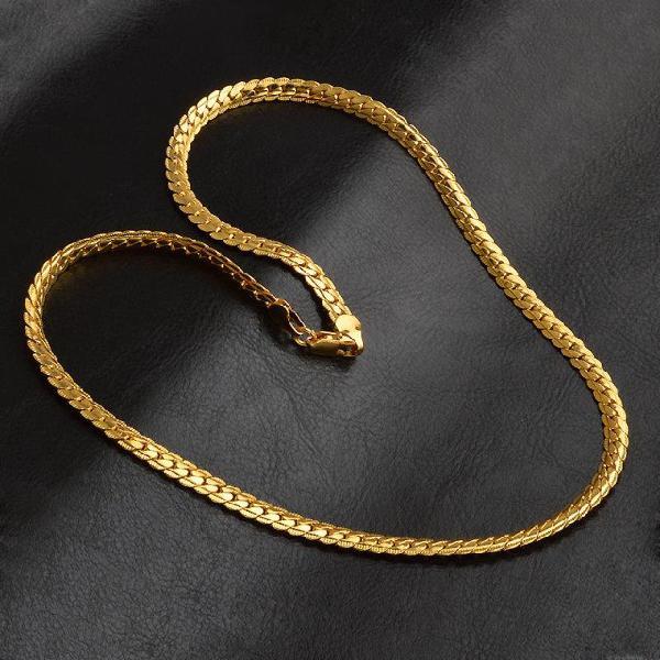 Corrente banhada a ouro 18k 50cm x 5mm lindíssima masculino