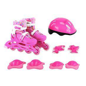 Kit proteção e patins feminino infantil in line e tri line