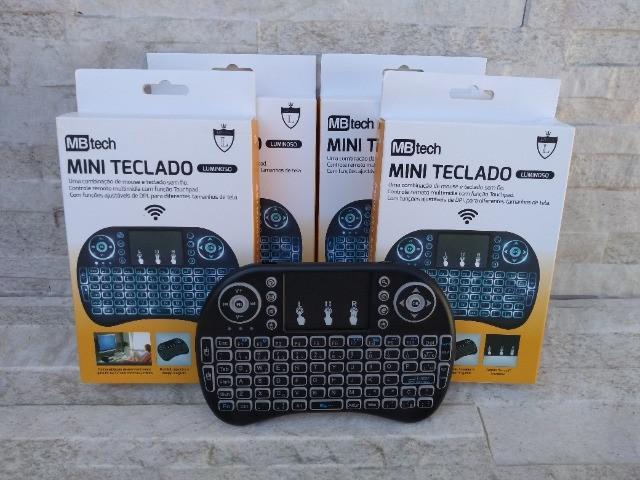 Mini teclado luminoso wireless bluetooth touchpad