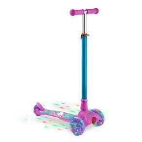 Patinete infantil 3 rodas com led unicórnio rosa