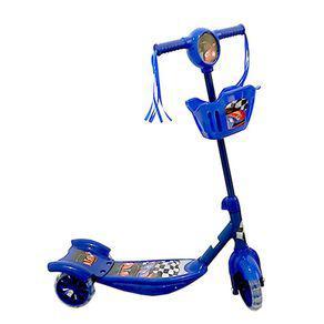 Patinete infantil com 3 rodas e cestinha - som e luz - azul