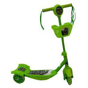 Patinete infantil com 3 rodas e cestinha - som e luz - verde