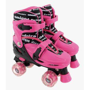 Patins judy menina pink roller ajustável 30 ao 33 com luz