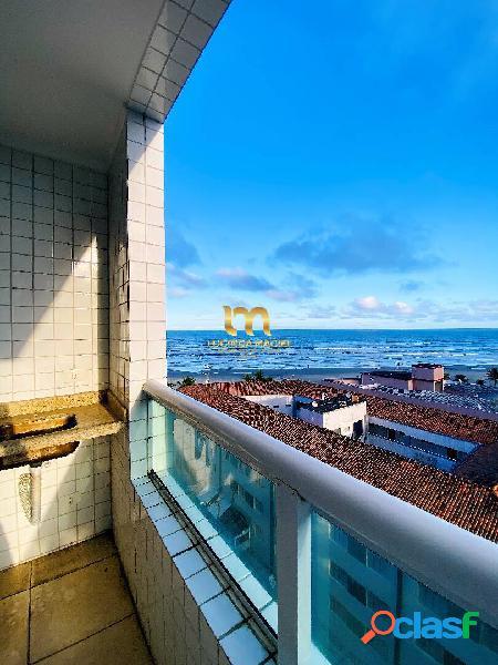 Apartamento vista mar, 02 dorms, suíte, sacada gourmet- vila tupi