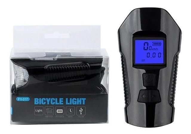 Lanterna bicicleta bike led com buzina e velocímetro