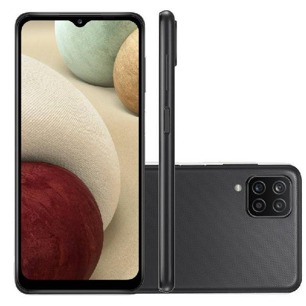 "Smartphone Samsung Galaxy A12 Preto 64 GB 6,5"" 4G RAM Câm."