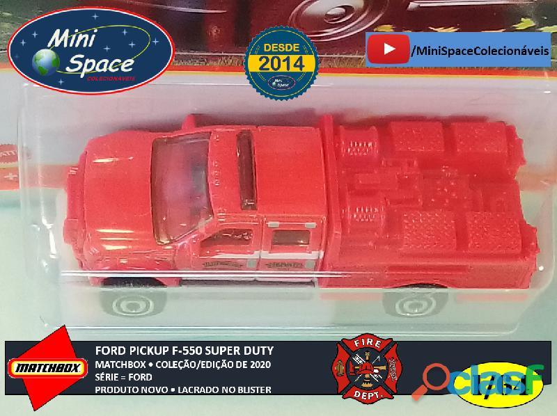 Matchbox Ford F 550 Super Duty Bombeiro cor Vermelho 1/64 2