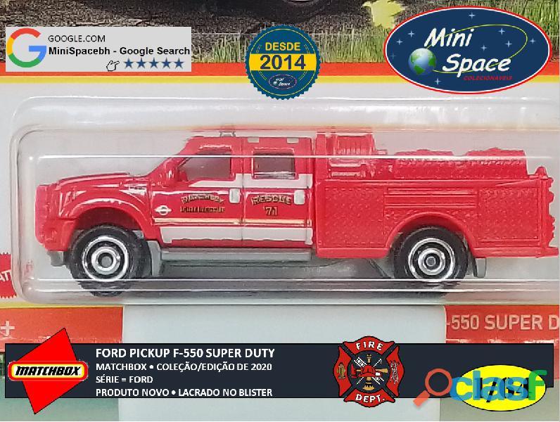 Matchbox Ford F 550 Super Duty Bombeiro cor Vermelho 1/64 9